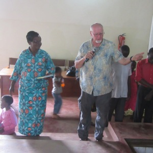 "Pastor Joy asks me to ""bless the water"" before the baptisms commence,"